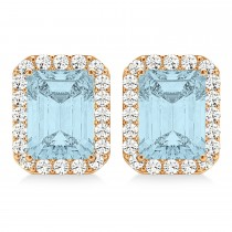 Emerald Cut Aquamarine & Diamond Halo Earrings 14k Rose Gold (1.80ct)