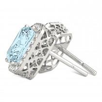 Emerald Cut Aquamarine & Diamond Halo Earrings 14k White Gold (1.80ct)