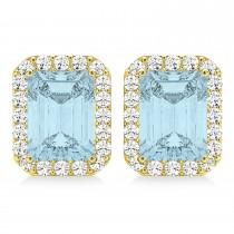 Emerald Cut Aquamarine & Diamond Halo Earrings 14k Yellow Gold (1.80ct)