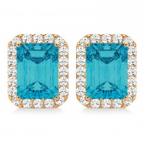 Emerald Cut Blue & White Diamond Halo Earrings 14k Rose Gold (2.42ct)