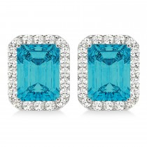 Emerald Cut Blue & White Diamond Halo Earrings 14k White Gold (2.42ct)