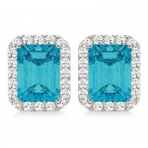 Emerald Cut Blue & White Diamond Halo Earrings 14k White Gold (2.42ct)