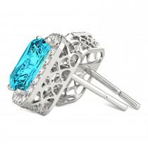 Emerald Cut Blue & White Diamond Halo Earrings 14k White Gold (2.42ct)|escape