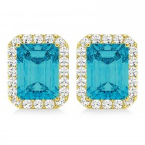 Emerald Cut Blue & White Diamond Halo Earrings 14k Yellow Gold (2.42ct)