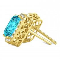 Emerald Cut Blue & White Diamond Halo Earrings 14k Yellow Gold (2.42ct)