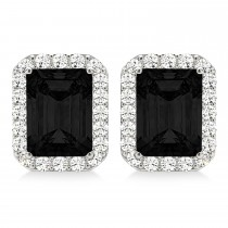 Emerald Cut Black & White Diamond Halo Earrings 14k White Gold (2.42ct)