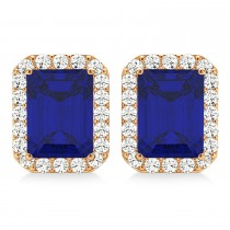 Emerald Cut Blue Sapphire & Diamond Halo Earrings 14k Rose Gold (2.60ct)