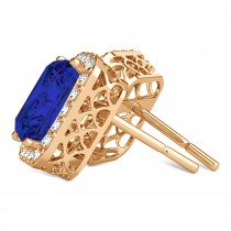 Emerald Cut Blue Sapphire & Diamond Halo Earrings 14k Rose Gold (2.60ct)