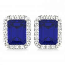 Emerald Cut Blue Sapphire & Diamond Halo Earrings 14k White Gold (2.60ct)