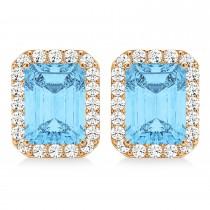 Emerald Cut Blue Topaz & Diamond Halo Earrings 14k Rose Gold (2.80ct)