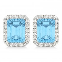 Emerald Cut Blue Topaz & Diamond Halo Earrings 14k White Gold (2.80ct)
