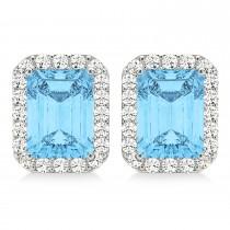 Emerald Cut Blue Topaz & Diamond Halo Earrings 14k White Gold (2.80ct)