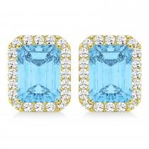 Emerald Cut Blue Topaz & Diamond Halo Earrings 14k Yellow Gold (2.80ct)
