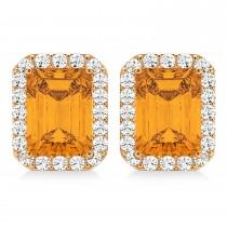 Emerald Cut Citrine & Diamond Halo Earrings 14k Rose Gold (2.30ct)