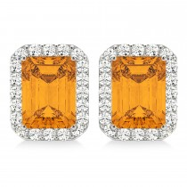 Emerald Cut Citrine & Diamond Halo Earrings 14k White Gold (2.30ct)