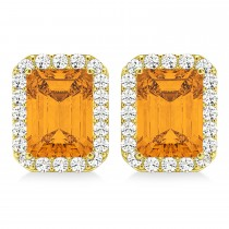 Emerald Cut Citrine & Diamond Halo Earrings 14k Yellow Gold (2.30ct)