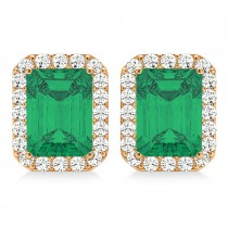 Emerald Cut Emerald & Diamond Halo Earrings 14k Rose Gold (2.10ct)