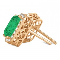 Emerald Cut Emerald & Diamond Halo Earrings 14k Rose Gold (2.10ct)