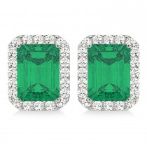 Emerald Cut Emerald & Diamond Halo Earrings 14k White Gold (2.10ct)