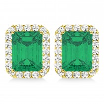 Emerald Cut Emerald & Diamond Halo Earrings 14k Yellow Gold (2.10ct)