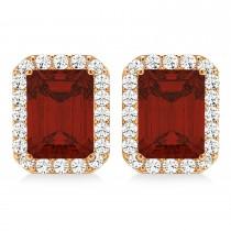 Emerald Cut Garnet & Diamond Halo Earrings 14k Rose Gold (2.70ct)