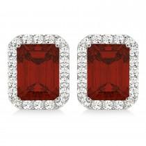 Emerald Cut Garnet & Diamond Halo Earrings 14k White Gold (2.70ct)