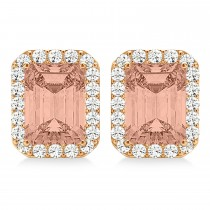 Emerald Cut Morganite & Diamond Halo Earrings 14k Rose Gold (2.10ct)