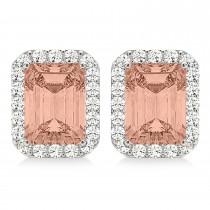 Emerald Cut Morganite & Diamond Halo Earrings 14k White Gold (2.10ct)