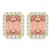 Emerald Cut Morganite & Diamond Halo Earrings 14k Yellow Gold (2.10ct)