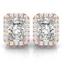 Emerald Cut Moissanite & Diamond Halo Earrings 14k Rose Gold (2.42ct)