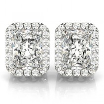 Emerald Cut Moissanite & Diamond Halo Earrings 14k White Gold (2.42ct)