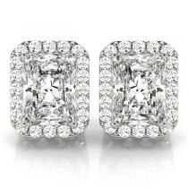 Emerald Cut Moissanite & Diamond Halo Earrings 14k White Gold (2.42ct)