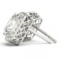 Emerald Cut Moissanite & Diamond Halo Earrings 14k White Gold (2.42ct)|escape