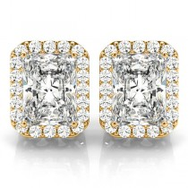 Emerald Cut Moissanite & Diamond Halo Earrings 14k Yellow Gold (2.42ct)