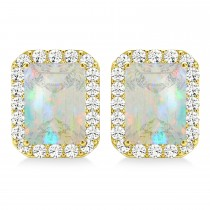 Emerald Cut Opal & Diamond Halo Earrings 14k Yellow Gold (1.50ct)