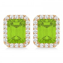 Emerald Cut Peridot & Diamond Halo Earrings 14k Rose Gold (2.30ct)