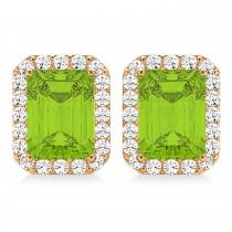 Emerald Cut Peridot & Diamond Halo Earrings 14k Rose Gold (2.30ct)