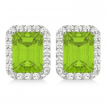 Emerald Cut Peridot & Diamond Halo Earrings 14k White Gold (2.30ct)