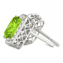 Emerald Cut Peridot & Diamond Halo Earrings 14k White Gold (2.30ct)|escape