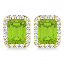 Emerald Cut Peridot & Diamond Halo Earrings 14k Yellow Gold (2.30ct)