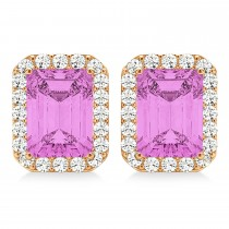 Emerald Cut Pink Sapphire & Diamond Halo Earrings 14k Rose Gold (2.60ct)