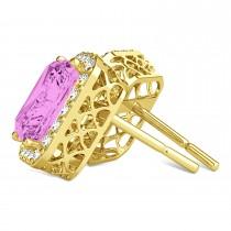 Emerald Cut Pink Sapphire & Diamond Halo Earrings 14k Yellow Gold (2.60ct)