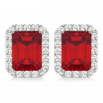 Emerald Cut Ruby & Diamond Halo Earrings 14k White Gold (2.60ct)