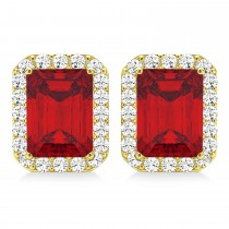 Emerald Cut Ruby & Diamond Halo Earrings 14k Yellow Gold (2.60ct)