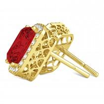Emerald Cut Ruby & Diamond Halo Earrings 14k Yellow Gold (2.60ct)