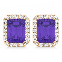 Emerald Cut Tanzanite & Diamond Halo Earrings 14k Rose Gold (2.60ct)