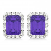 Emerald Cut Tanzanite & Diamond Halo Earrings 14k White Gold (2.60ct)