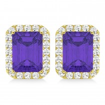 Emerald Cut Tanzanite & Diamond Halo Earrings 14k Yellow Gold (2.60ct)