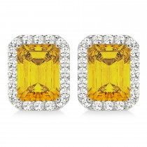 Emerald Cut Yellow Sapphire & Diamond Halo Earrings 14k White Gold (2.60ct)