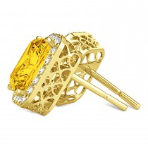 Emerald Cut Yellow Sapphire & Diamond Halo Earrings 14k Yellow Gold (2.60ct)